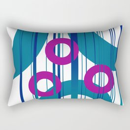 Three Rings pink with turquoise background Rectangular Pillow