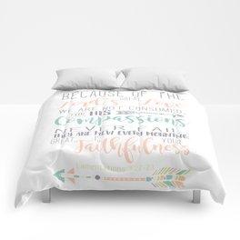 Handwritten Pastels Lamentations 3:22-23 Bible Verse Comforters