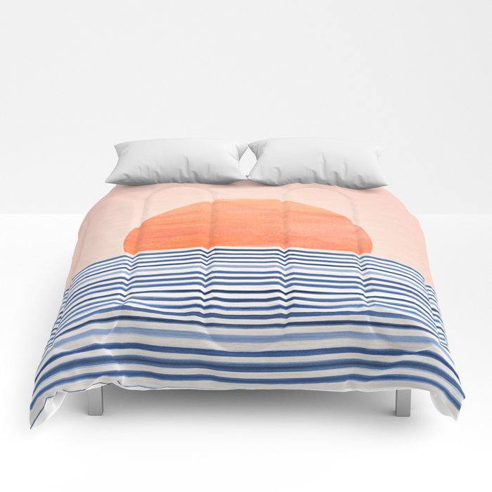 Summer Sunrise - Minimal Abstract Comforters