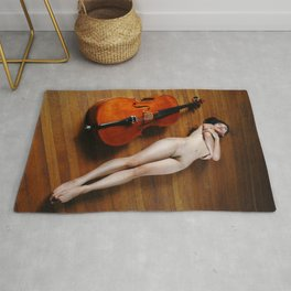 0137-JC Nude Cellist with Her Cello and Bow Naked Young Woman Musician Art Sexy Erotic Sweet Sensual Rug
