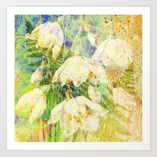fern and flowers on yellow Art Print