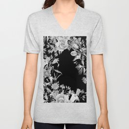 Stardust Black and White Floral Motif Unisex V-Neck