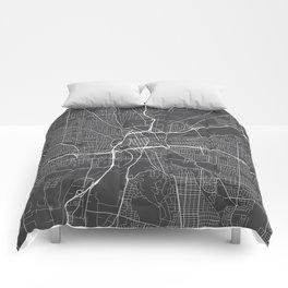 Dayton Map, USA - Gray Comforters