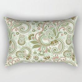 Oriental Persian Paisley, Swirls - Green Pink Rectangular Pillow