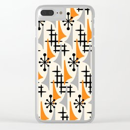 Mid Century Modern Atomic Wing Composition Orange & Gray Clear iPhone Case