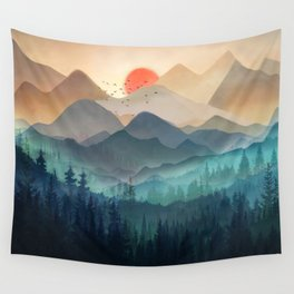 Wilderness Becomes Alive at Night Wall Tapestry