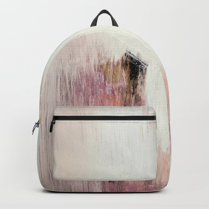 Sunrise [2]: a bright, colorful abstract piece in pink, gold, black,and white Rucksack
