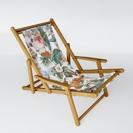 Cat and Floral Pattern III Sling Chair