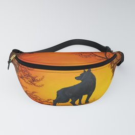Wonderful wolf in the night Fanny Pack