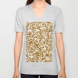Small Spots - White and Golden Brown Unisex V-Neck