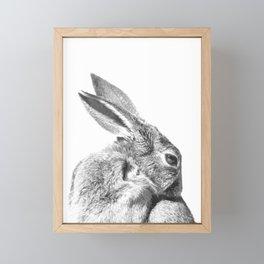 Black and white rabbit Framed Mini Art Print