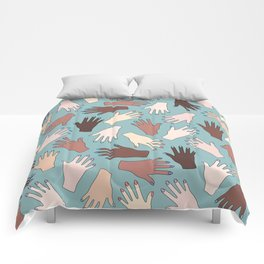 Nail Expert Studio - Colorful Manicured Hands Pattern Comforters