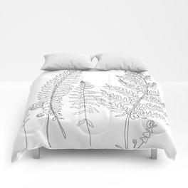 Minimal Line Art Fern Leaves Comforters