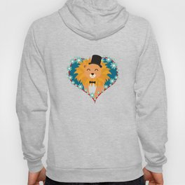 Lion with hat in flower heart Hoody