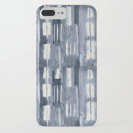 Simply Shibori Lines in Indigo Blue on Lunar Gray iPhone Case