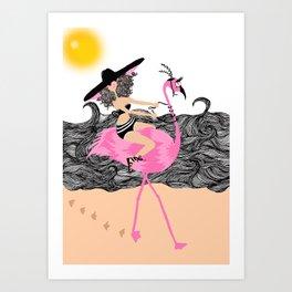 Flamingo Ride Art Print