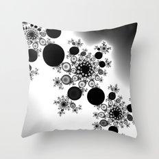 black and white fractal Throw Pillow