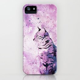 Pink Watercolor Cat Painting iPhone Case