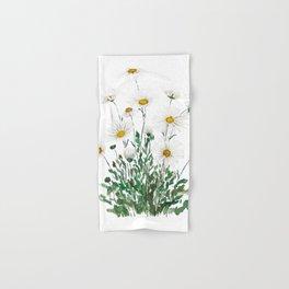 white Margaret daisy watercolor Hand & Bath Towel