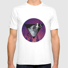 Witchy Wolf White MEDIUM Mens Fitted Tee