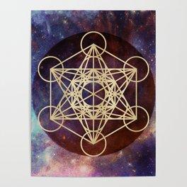 Metatron Mandala Moon Gold Bronze Copper Poster