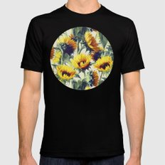 Sunflowers Forever Black MEDIUM Mens Fitted Tee