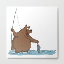 Bear is fishing Metal Print