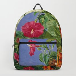 Tropical Hibiscus and Bougainvillea Flowers still life painting Backpack