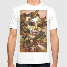 Queen of Enlightenment  White Mens Fitted Tee MEDIUM