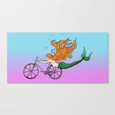 Mermaid on a Bike Canvas Print