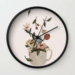 Coffee with Flowers Wall Clock