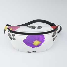 Primulaceae Colorful Flowers and Hand Drawn Paw Print Pattern Fanny Pack