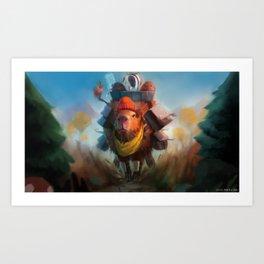 Capybara Express Art Print
