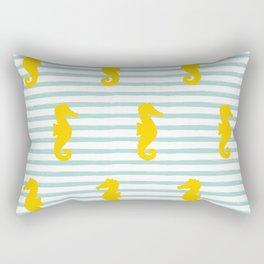 Seahorse & Stripes Pattern - Yellow / Mint Rectangular Pillow