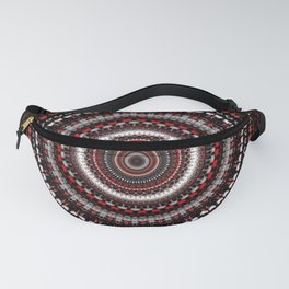 Detailed Black and Red Mandala Fanny Pack