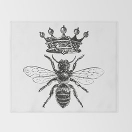 Queen Bee | Vintage Bee with Crown | Black and White | Throw Blanket