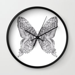 FLOWERS, FEATHERS & FLUTTERS Wall Clock