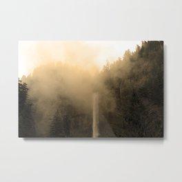 Foggy Multnomah Falls Metal Print