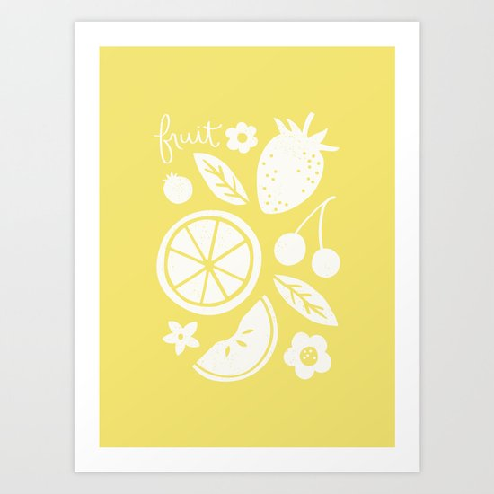 Fruit & Flowers - in Lemon Art Print