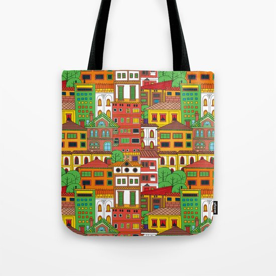 Doodle town pattern Tote Bag