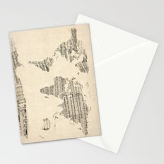 Old Sheet Music World Map Stationery Cards