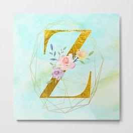 Gold Foil Alphabet Letter Z Initials Monogram Frame with a Gold Geometric Wreath Metal Print