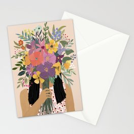 Woman with bouquet Stationery Cards