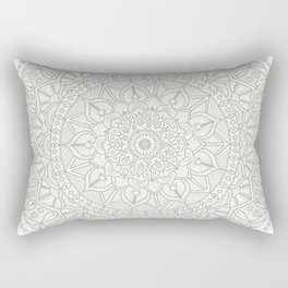 Gray Circle of Life Mandala on White Rectangular Pillow