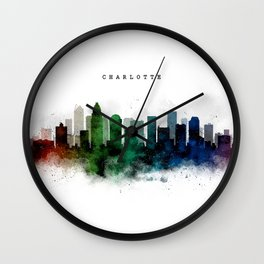 Charlotte Watercolor Skyline Wall Clock