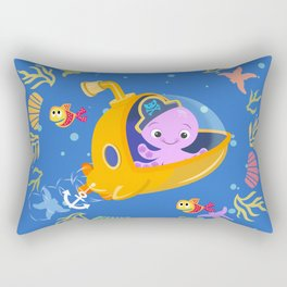 Under the sea with Captain Octo Rectangular Pillow