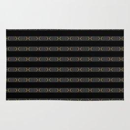 Modern Black Silver Grey Gold Pattern Rug