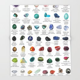 Crystal meanings and stone colours Throw Blanket