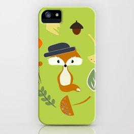 Cute fox in autumn II iPhone Case