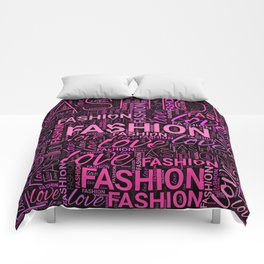 Fashion Word Art in Pink and Purple on Black Comforters